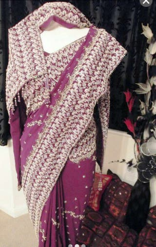 Heavily Embroidered Pearl Saree
