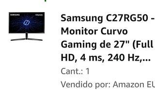 "Monitor 27"" IPS CURVO 240hz Samsung G-SYNC"