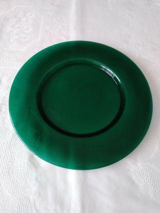 4 Bajoplatos de cristal verdes