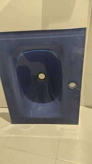 Lavabo cristal azul 60cm para encastrar/suspender