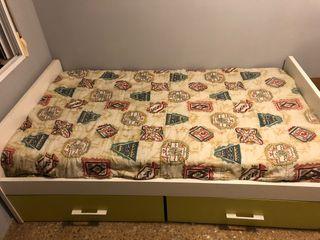 CAMA NIDO CON DOS CAJONES + colchón