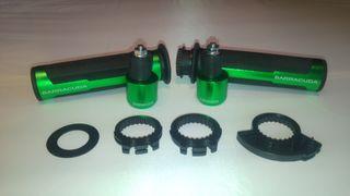Puños y contrapesos para moto verdes