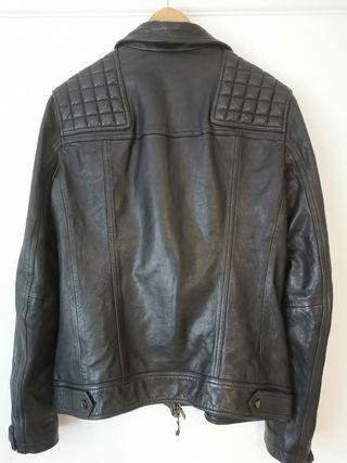 All Saints Conroy Leather Biker Jacket Ink Navy