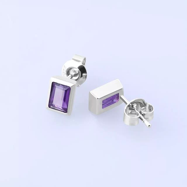 925 S.S 0.58ct Natural Purple Amethyst Set