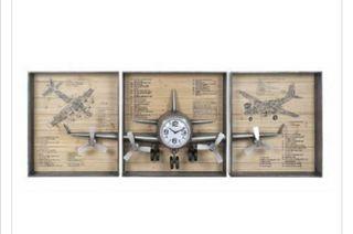 Reloj triptico avión industrial