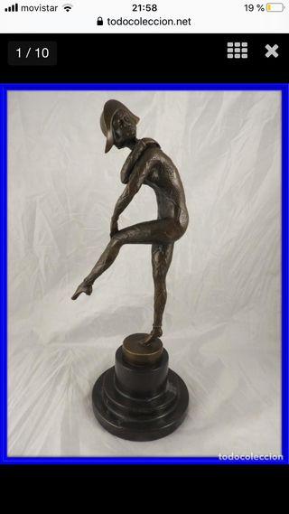 Escultura de bronce de Arlequín firmado Chiparus