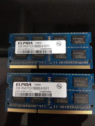 2 x Memorias 4gb ram SO-DIMM Ddr3 2rx8