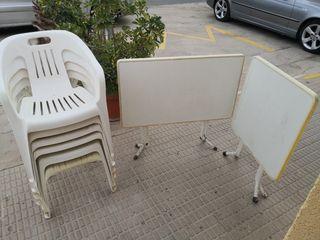mesas plegables y sillas de terraza jardin