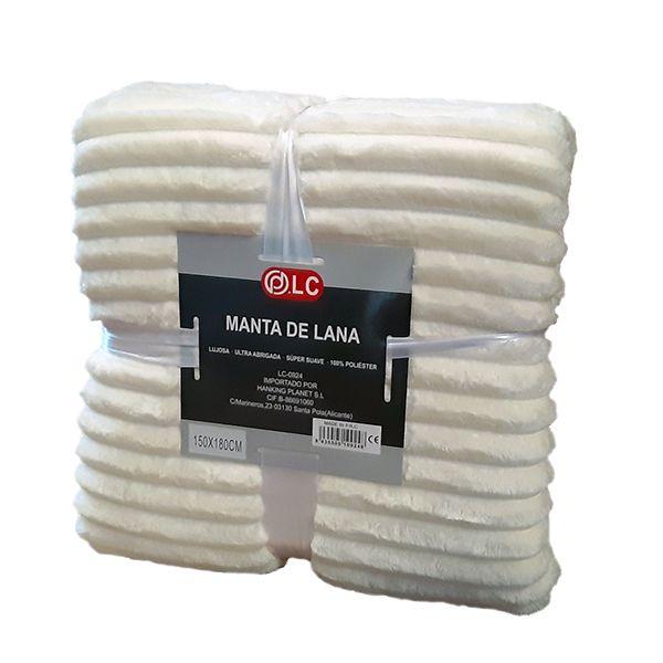 Manta lana blanca ondulada
