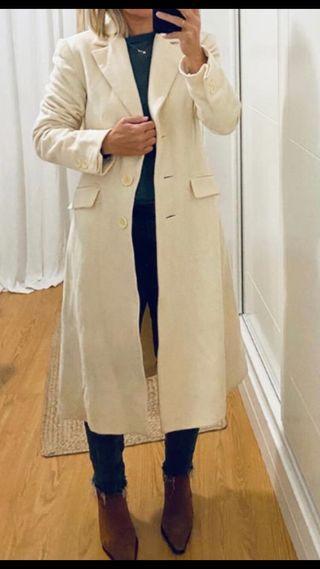 Abrigo paño blanco ZARA
