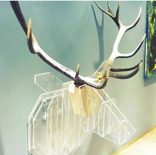 escultura en metacrilato y cuerna de ciervo