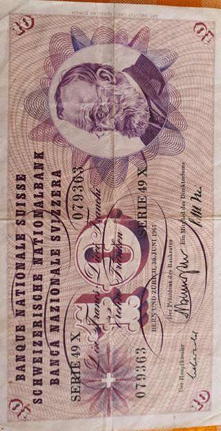Billete 10 francos suizos 1967