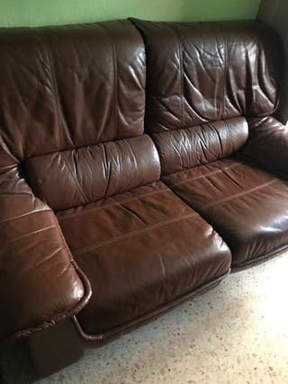 Sofás piel marrón