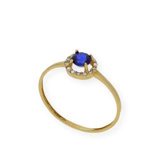 Anillo Diamantes y Zafiro Oro Amarillo 18 kt