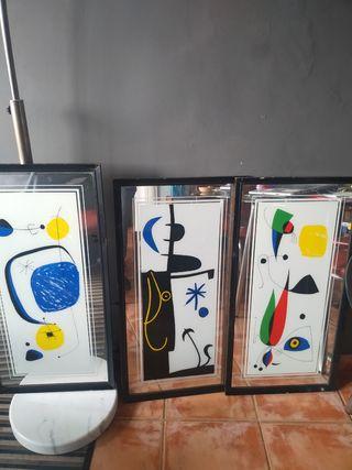 Serie de 4 cuadros espejo Retro