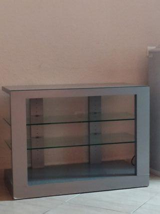Mesa gris plata cristal