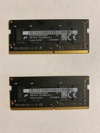 2 memorias RAM de 4GB procedente de iMac nuevo