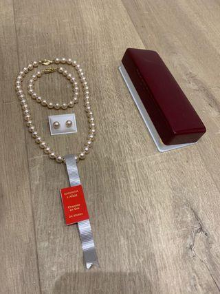 Conjunto de perlas. Chapado en oro 24K