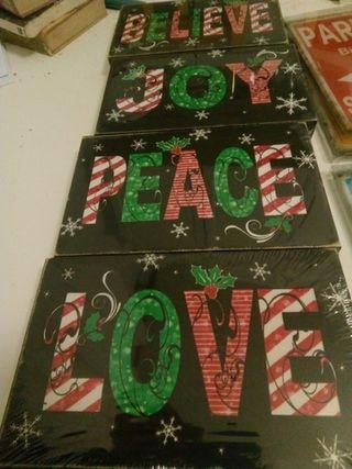 4 lienzos Peace, Love, Joy, Believe. (20x12 cm.)
