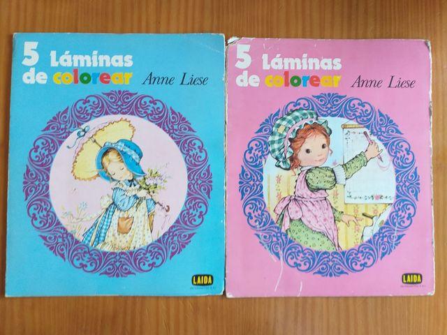 Lote de dos carpetas con 5 laminas de Anne Liese