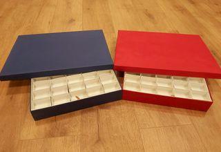 2 Cajas de cartón duro para coleccion de minerales