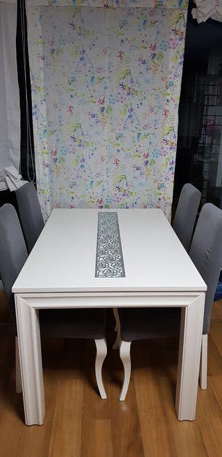 conjunto mesa abatible + 4 sillas isabelinas