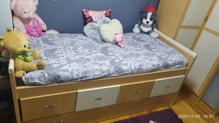 dormitorio infantil cama nido y armario rinconero