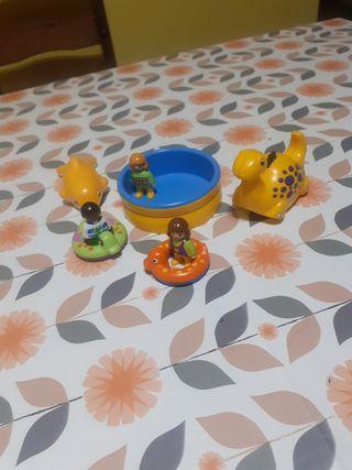 conjunto piscina playmobil 1 2 3