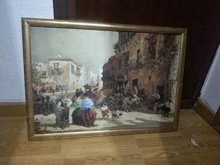 cuadro rectangular con lámina de época