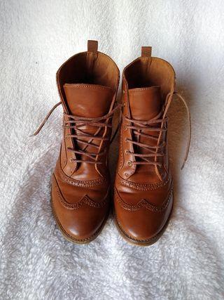 Botines oxford marrón cordones, 39, 38