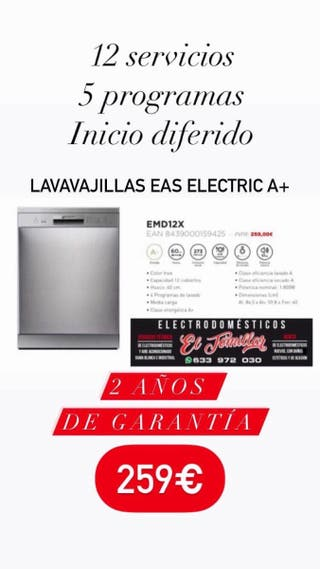 Lavavajillas Eas Electric A+