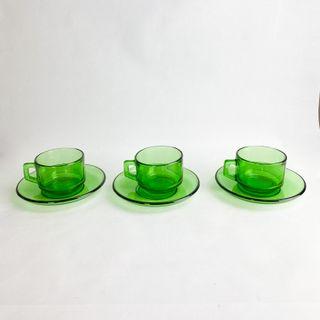 3 Tazas de café Vereco verde. 1970's