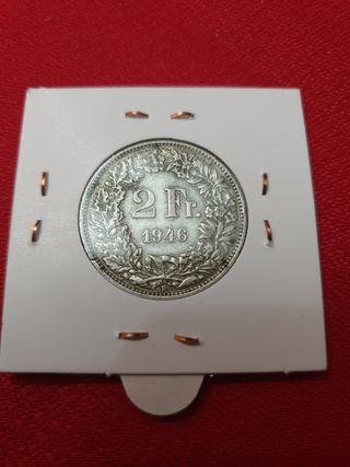 Moneda plata 2Fr. Suiza 1946