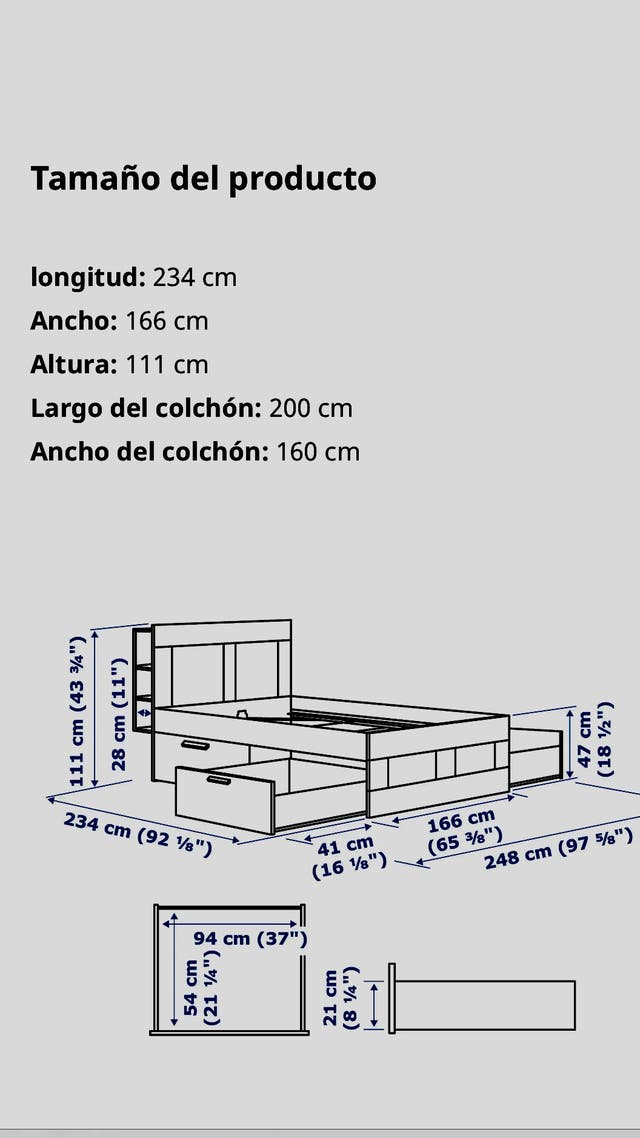 Estruc cama+alm+cabec, blanco/Lönset160x200 cm