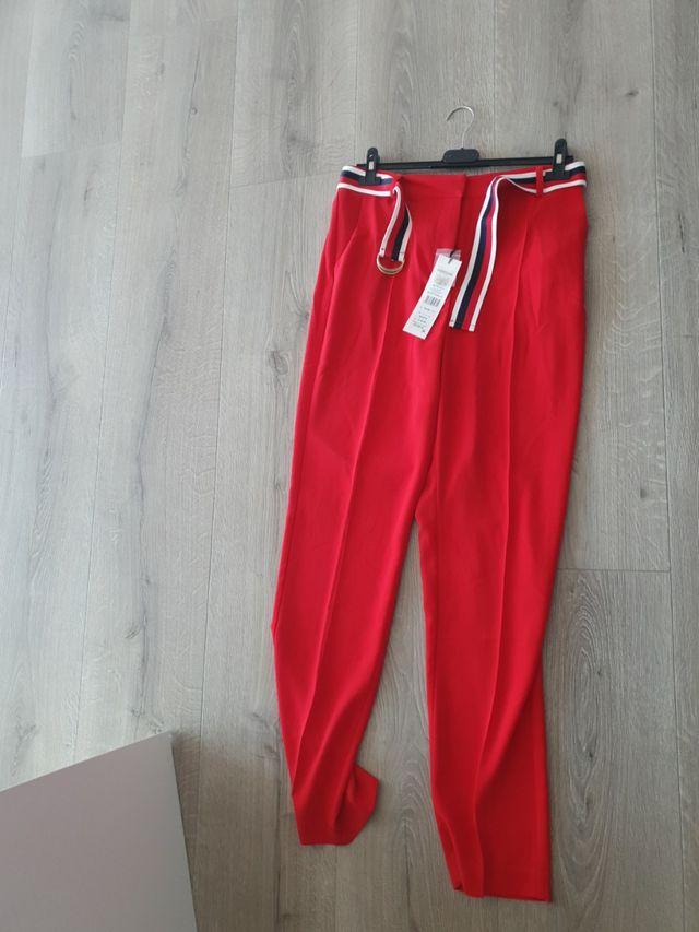 Pantalon Rojo Vestir Pata Elefante De Segunda Mano Por 20 En Beniel En Wallapop