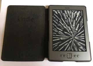 KINDLE libro electrónico con funda de cuero