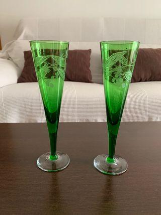 Juego dos copas cristal verdes