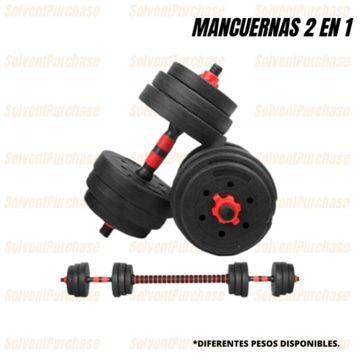 Mancuernas Ajustables (10-50KG) con Barra 2 en 1