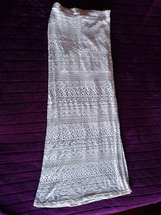 falda larga blanca encaje