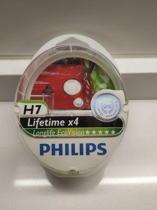 Bombilla coche faro H7 Philips Lifetime x4