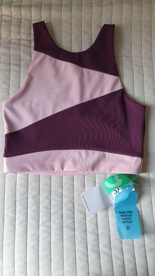 Top yoga nuevo Shambala burdeos & rosa talla S