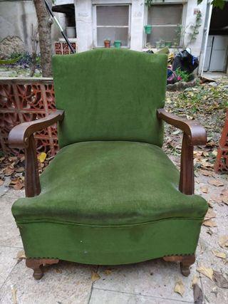 Set 2 sillones antiguos de madera tapizados