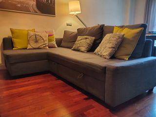 Sofá cama con chaise longue gris