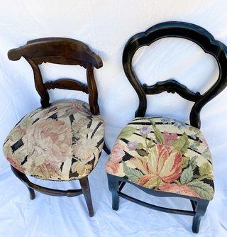 2 silla Isabelinas distintas con el mismo tapizado