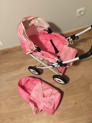 Carrito juguete bebé rosa
