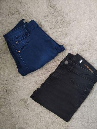 Pantalones Jeggins azul y negro ( talla 38 los dos