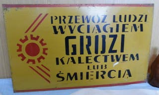 Chapa antigua Países del Este en polaco.
