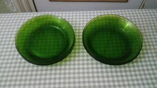 seis platos verdes hondos duralex