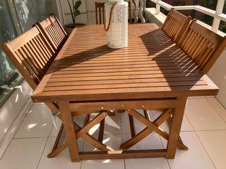 Mesa jardin exterior madera.