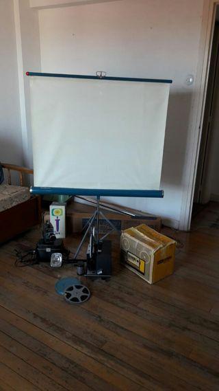 Proyector -camara cine + lampara + pantalla.